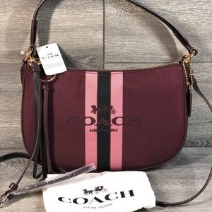 Coach Horse and Carriage Crossbody Oxblood/Gold
